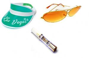 Fear and Loathing in Las Vegas Green Visor, Sunglasses and Cigarette holder set